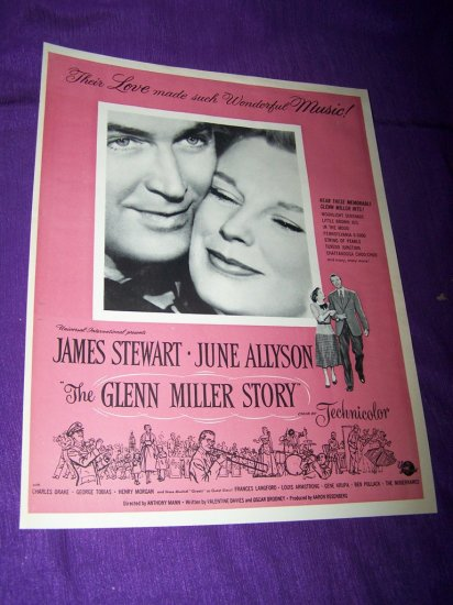 Vintage GLENN MILLER STORY James Stewart Movie Print Ad