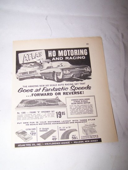 Vintage 1962 ATLAS HO Motoring Racing Car Toy Print Ad