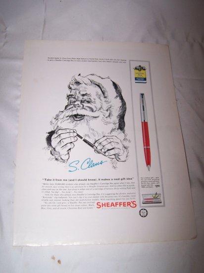 Vintage 1962 SANTA CLAUS SHEAFFER'S PEN Print Ad