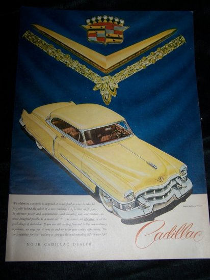 Vintage 1949 Yellow CADILLAC Sedan Car Jewels Print Ad