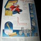 Vintage 1948 RONSON Lighter Santa Claus Smokes Print Ad
