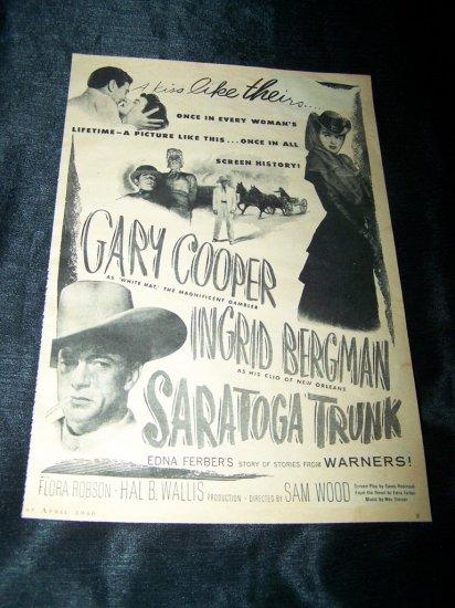 Vintage 1946 SARATOGA TRUNK Gary Cooper Movie Print Ad