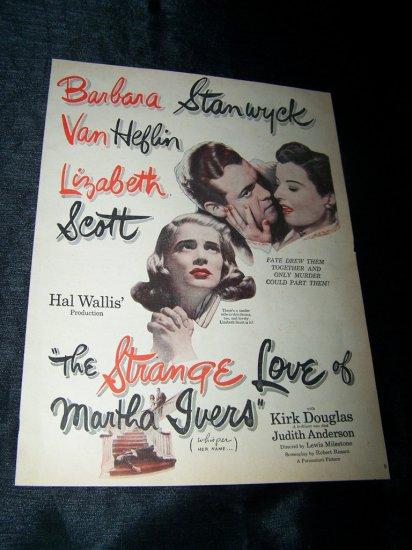 Vintage STRANGE LOVE OF MARTHA IVERS Lizbeth Scott & Barbara Stanwyck Print Ad