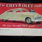 Vintage 1949 CHEVROLET FLEETLINE SEDAN 2 Page Print Ad