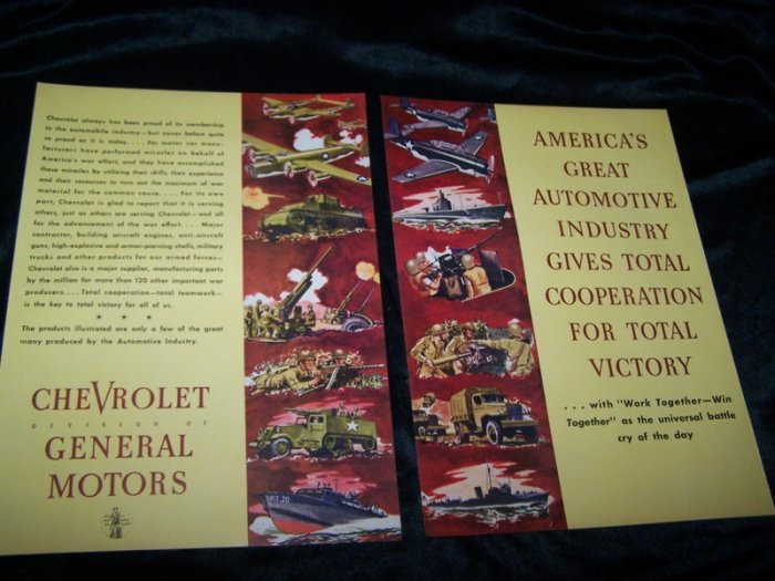 Vintage 1940s WWII Chevrolet Tank Plane War GM Print Ad