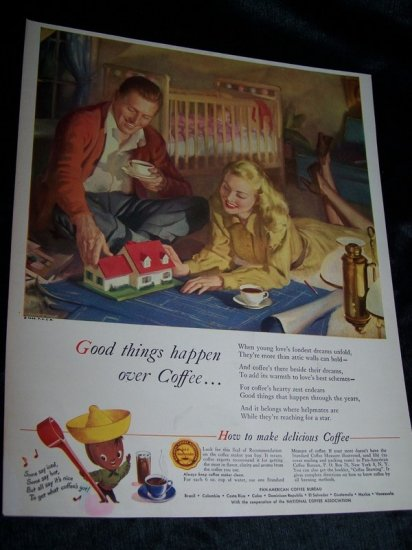 Vintage 1946 COFFEE Dream House Home & Baby Print Ad