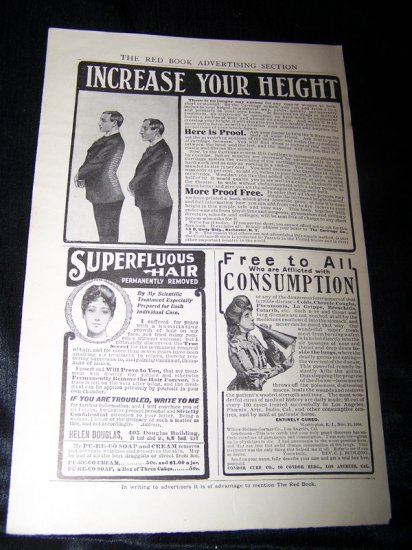 Vintage 1906 INCREASE YOUR HEIGHT Cure Remedy Print Ad