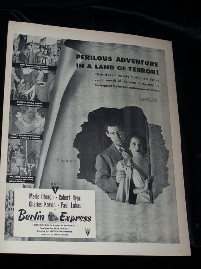 Vintage 1948 BERLIN EXPRESS Merle Oberon Movie Print Ad