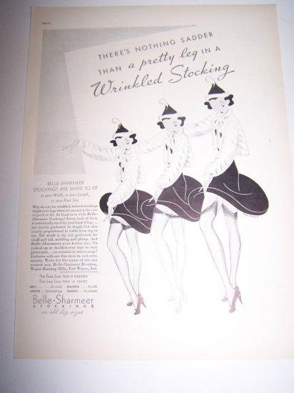 Vintage 1937 BELLE-SHARMER STOCKINGS NYLON Leg Print Ad