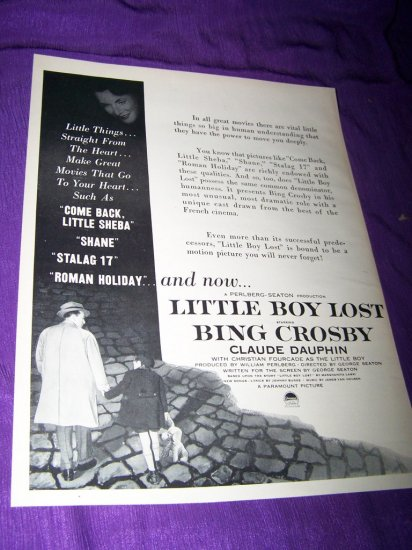 Vintage LITTLE BOY LOST Bing Crosby Movie Print Ad