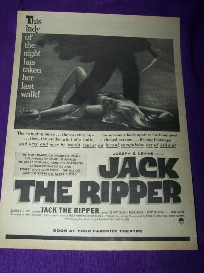 Vintage 1959 JACK RIPPER Lee Patterson Movie Print Ad