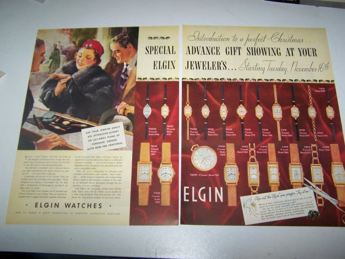 Vintage 1937 Elgin Ladies Watches 2 Page Print Ad