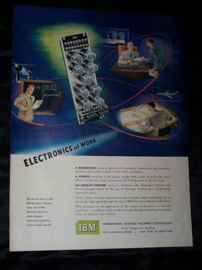 Vintage 1950 IBM Electronics at Work COMPUTER Print Ad