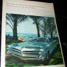 Vintage 1966 WIDE TRACK PONTIAC Relax Beach Print Ad