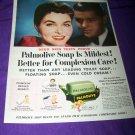 Vintage 1954 PALMOLIVE SOAP Complexion Woman Print Ad