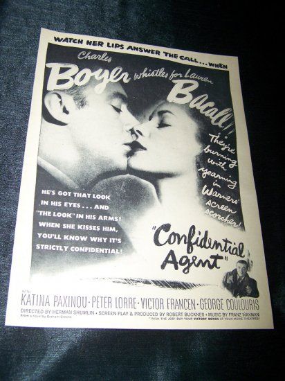 Vintage 1945 CONFIDENTIAL AGENT Lauren Bacall Print Ad