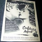Vintage 1945 CONFIDENTIAL AGENT Lauren Bacall Print Ad