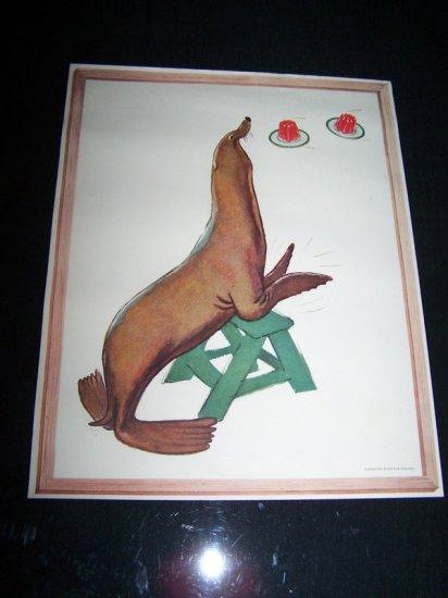 Vintage 1954 JELL-0 JELLO SEAL Animal Print Premium Ad