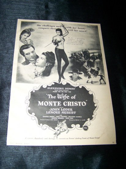 Vintage 1946 WIFE OF MONTE CRISTO Movie Print Ad