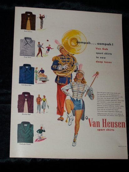 Vintage 1948 VAN HEUSEN Shirts Marching Band Print Ad