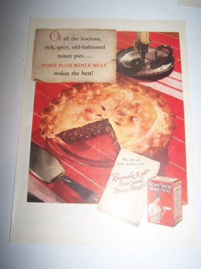 Vintage 1937 NONE SUCH MINCE MEAT Pie Color Print Ad