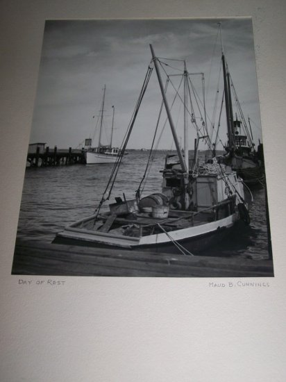 Vintage 1930s FISHING BOAT AT DOCK Original PHOTO w/Mat