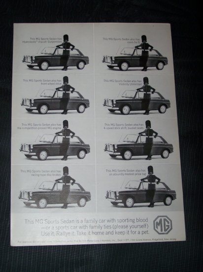 Vintage 1960s MG Sports Sedan British Guard Print Ad