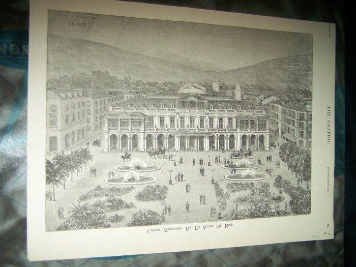 Antique 1882 GRAPHIC CASINO LA VILLE DE NICE Art Print