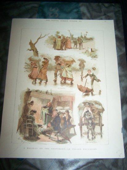 Antique 1882 GRAPHIC Holiday on Continent Art Print