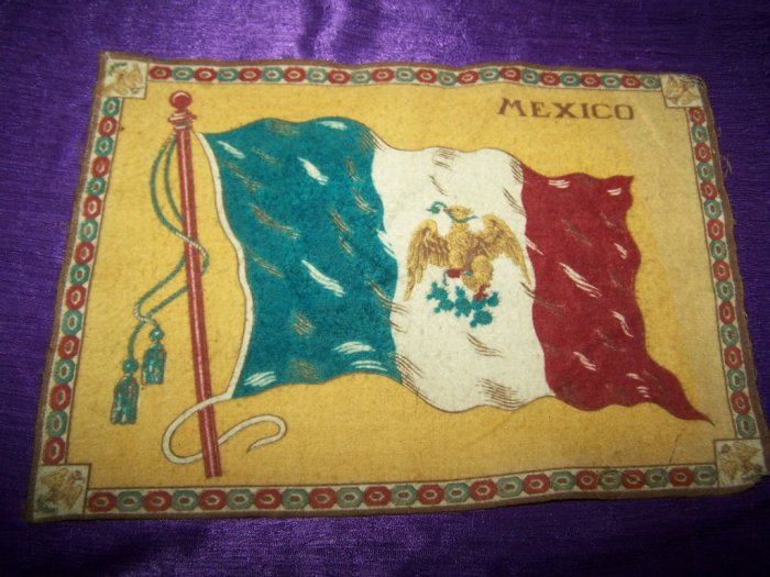 "Antique TOBACCO Flannel Felt 11"" MEXICO FLAG Premium"