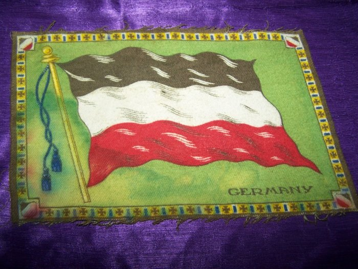 "Antique TOBACCO Flannel Felt 11"" GERMANY FLAG Premium"