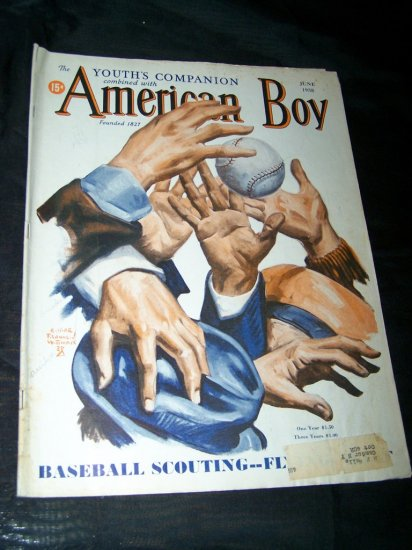 Vintage AMERICAN BOY June 1938 Magazine BASEBALL Cover