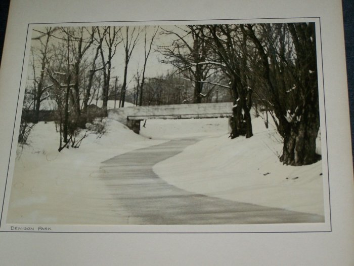 Vintage 1930s DENISON PARK Corning NY Winter Art PHOTO