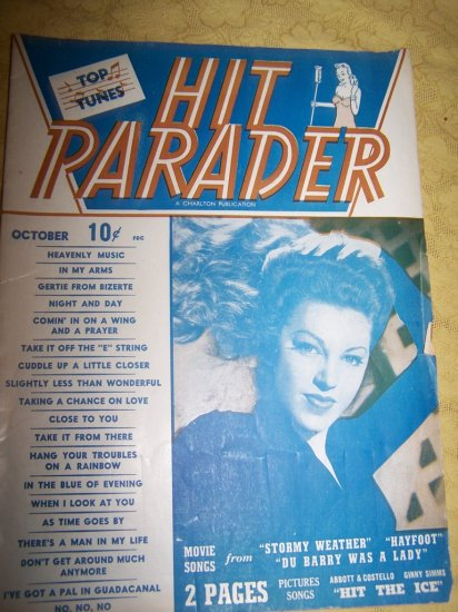 Vintage HIT PARADER Magazine Oct 1943 Abbott & Costello~Fay McKenzie
