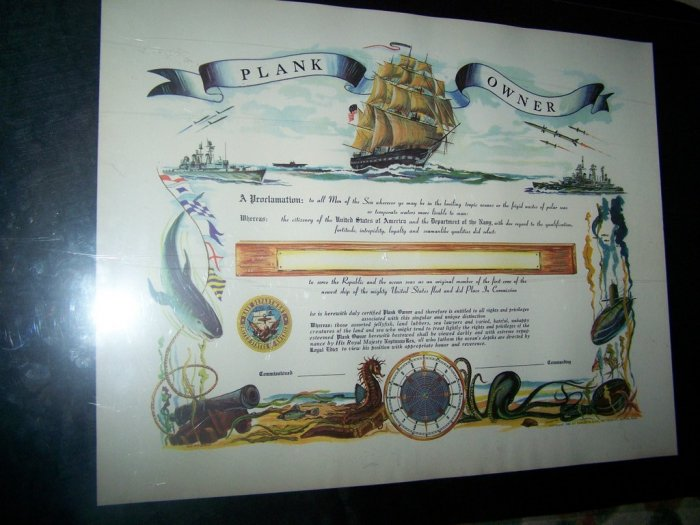 Vintage 1960 Navy PLANK OWNER Certificate Unsigned