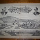 Antique 1870s NELSON WARREN Chemung Co NY Farm Old Mill Lithograph Print
