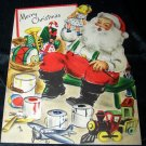Vintage SANTA CLAUS Color Paint Hallmark CHRISTMAS CARD