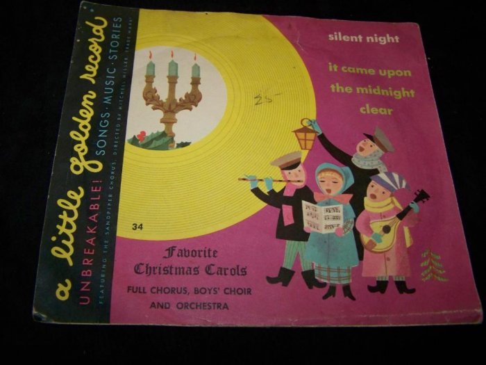 Vintage FAVORITE CHRISTMAS CAROLS 34 Golden Record 78