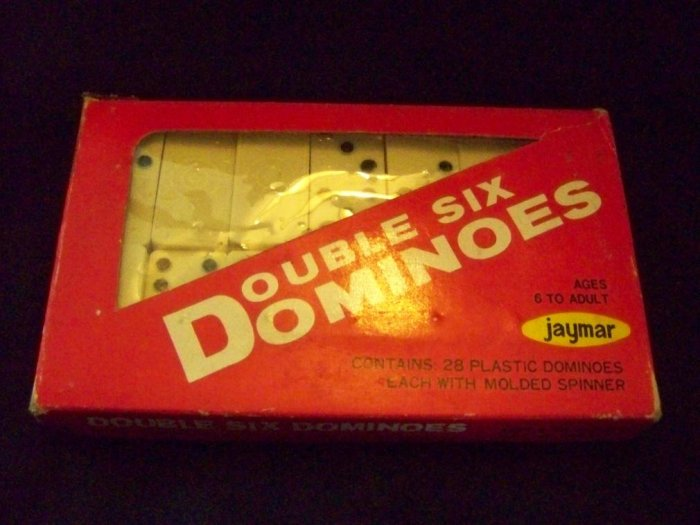 Vintage Jaymar Hard Plastic Double Six Dominoes Game
