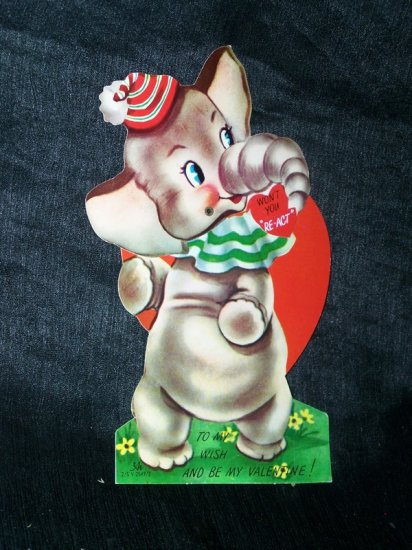 Vintage 1940s Mechanical VALENTINE CARD Elephant DUMBO