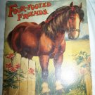 Antique 1912 FOUR-FOOTED FRIENDS Animal Linenette Book