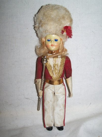 "Vintage 1950s Hard Plastic QUEEN ROYAL GUARD SOLDIER 7"" Doll"