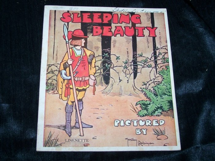 Antique 1930s SLEEPING BEAUTY Children's Linenette Book