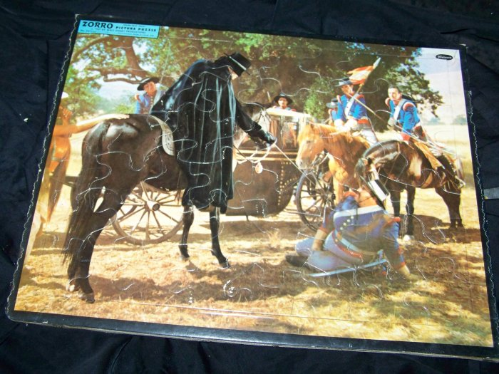 Vintage 1957 ZORRO Walt Disney Movie Frame-Tray Puzzle Whitman