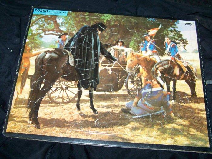Vintage 1957 ZORRO Walt Disney Movie Frame-Tray Puzzle Whitman
