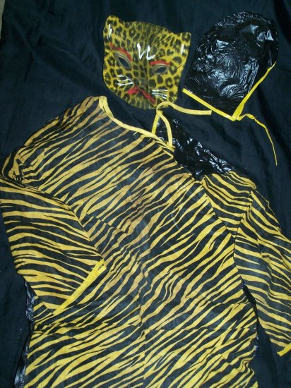 Vintage 1940s-1950s Cloth Halloween Costume TIGER Mask