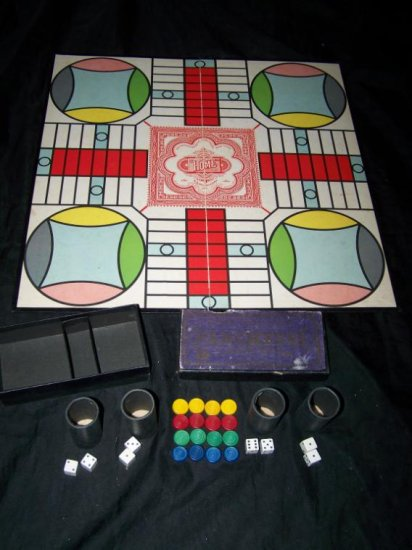 Antique/Vintage 1930s PARCHEESI Board Game S&E Selchow and Righter COMPLETE