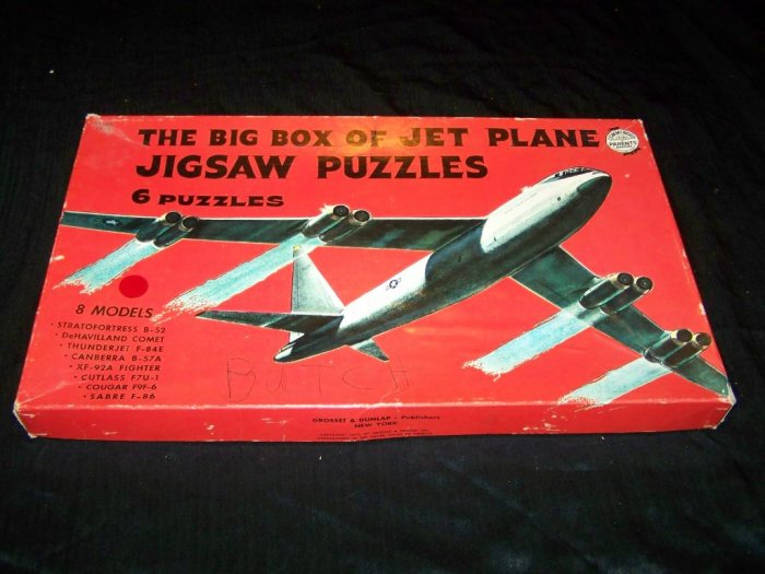 Vintage 1953 Big Box JET PLANE JIGSAW PUZZLES Play Set Toy