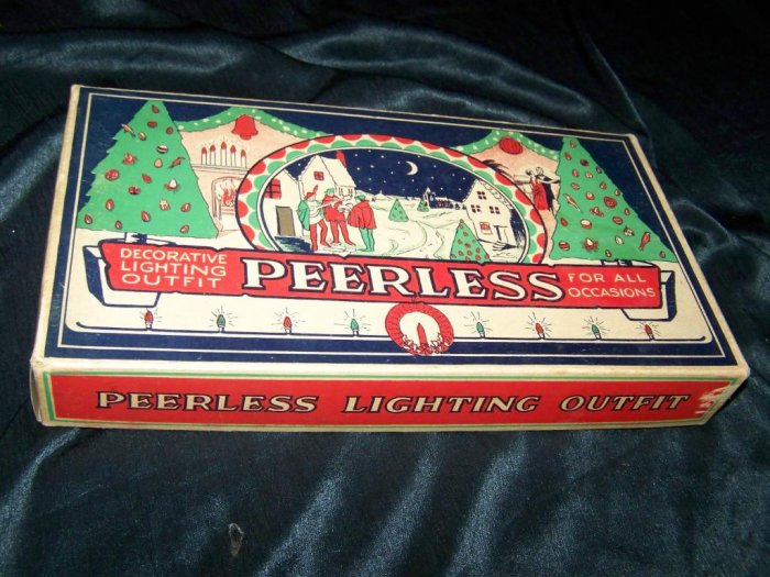 Vintage 1930s-40s Christmas String Lights PEERLESS Box
