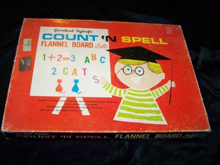 Vintage Toykraft COUNT SPELL Felt Letter Number Toy Set